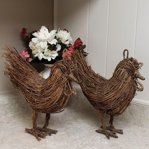 A Rare VTG Pair Of Handmade Wooden Twine Roosters